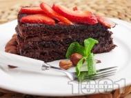 Торта с какаови блатове, шоколадов крем и ягоди